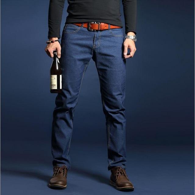 Business casual mens jean lightweight business straight mens jeans strouser autumn long pants good quality elastic denim jeans