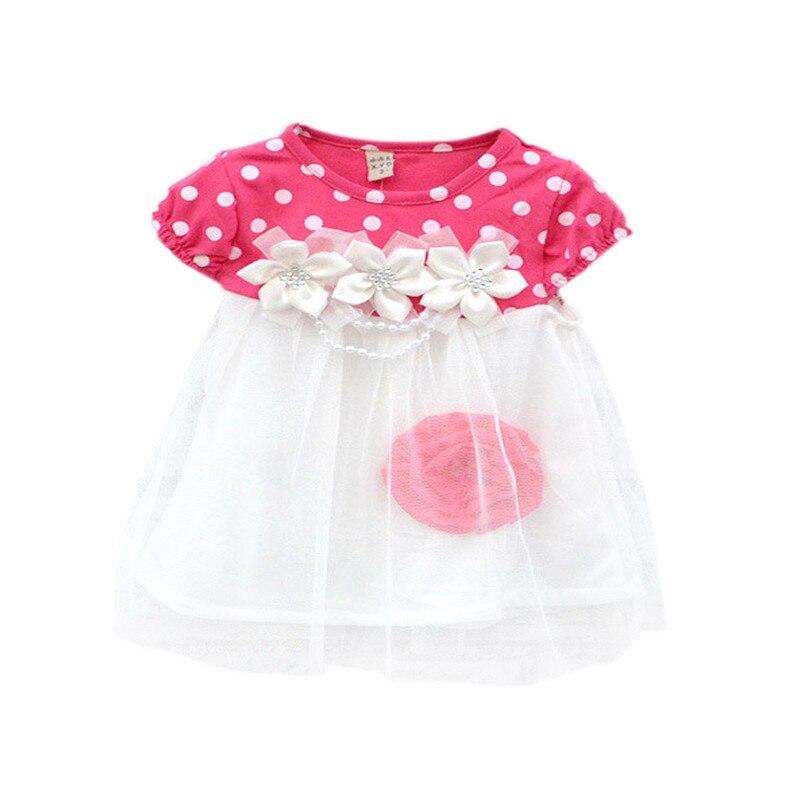 2017 Cute Summer Children Clothing Ball Gown Princess Dress Kids Baby Girls Polka Dots Flower Tutu Dresses 4 Colors j2