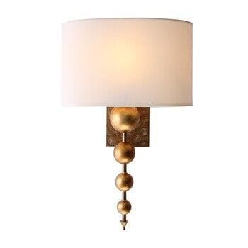 Американский Ретро настенный светильник для гостиной простой тканевый прикроватный светильник для спальни настенный светильник бра Беспл...