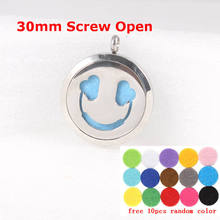 Pads and chain as gift! Round Silver 30mm Aromatherapy Essential Oils Diffuser Locket Pendant Stainless Steel Perfume Necklace