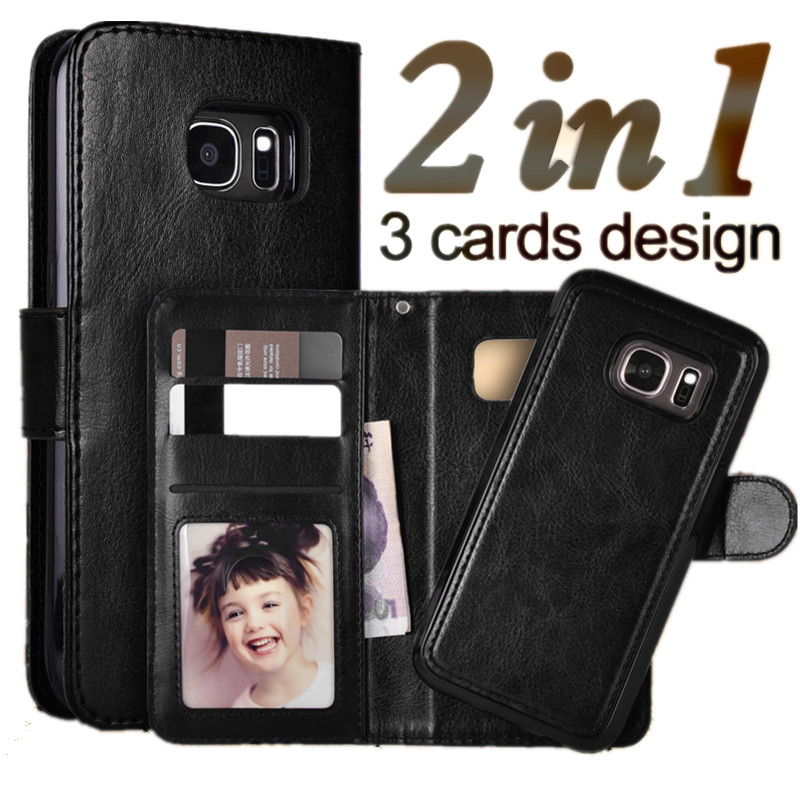 LANCASE Samsung Galaxy S7 Edge Case Flip Wallet Magnetic PU ტყავის საქმე Samsung Galaxy S7 S6 S6 Edge S8 S9 S9 Plus Case