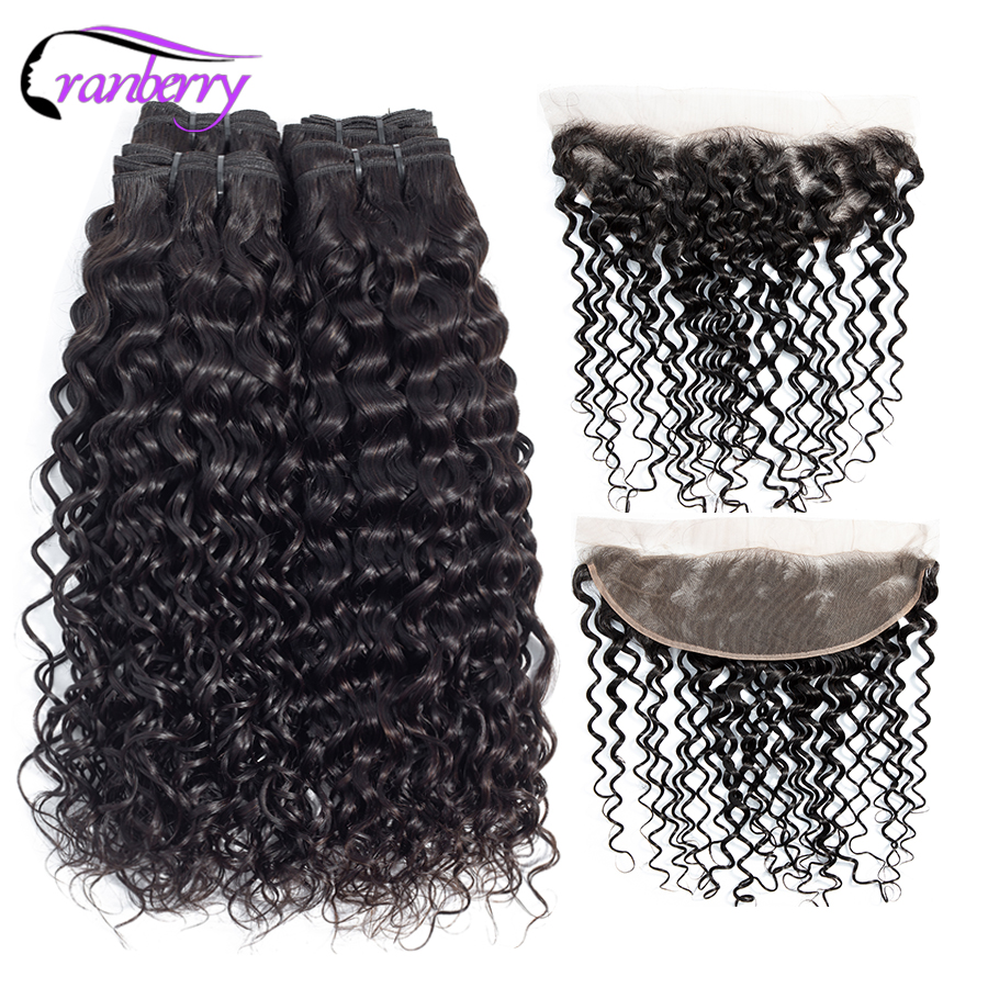 Cranberry Remy Hair Water Wave Bundles With Frontal Peruvian Hair Bundles With Closure 13 4 Ear