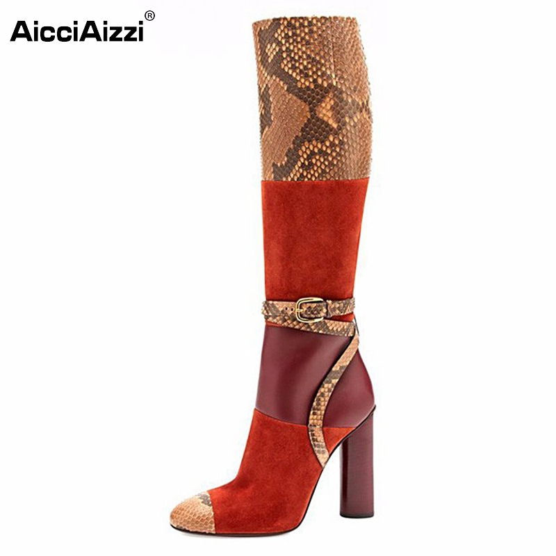 New Fashion Women Knee-high Boots Elegant Round Toe Thin Heels Boots Brand Fashion Shoes Woman Heels Botas Size 35-46 B161 women round toe platform over knee boots sexy woman thin high heel shoes fashion cross strap heels long botas size 34 47