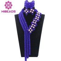 Романтический Великолепный Королевский синий Свадебные африканские Бусины комплект ювелирных изделий цветок лепестки Pearl себе Свадебные