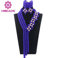 Romantic Gorgeous Royal Blue Wedding African Beads Jewelry Set Flower Petals Pearl Statement Bridal Jewelry Free Shipping ABL526