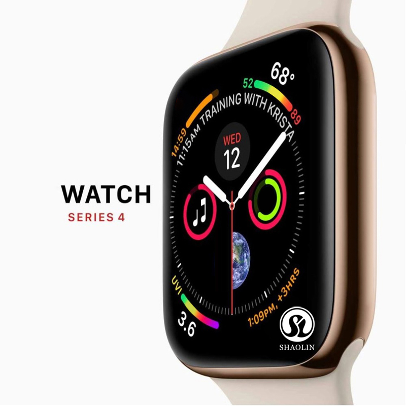 50% de descuento Smart Watch Series 4 SmartWatch funda para apple iPhone Android teléfono inteligente monitor de ritmo cardíaco podómetro (rojo botón)