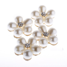 Fashion 10Pcs Sewing Craft 23mm Flower Round Cluster Crystal Rhinestone Pearl Button Lot Wedding Buckle Jewelry