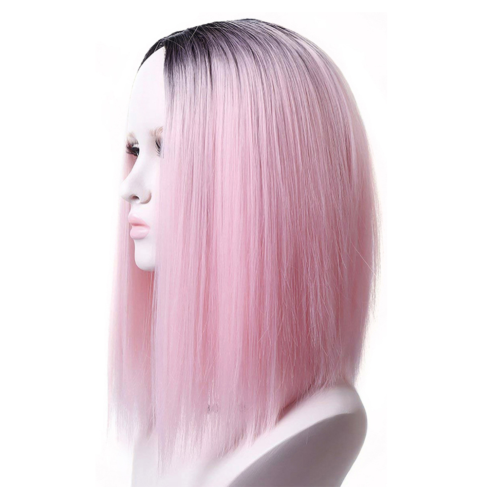 Pageup Ombre Bob Synthetic Wigs For Women African American Ladies High Temperature Fiber Heat Resistant Short Cosplay Pink Wig (3)