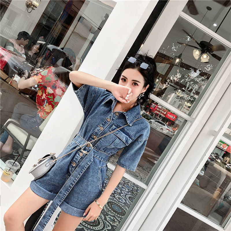 Vrouwen Denim Jumpsuit En Speelpakjes Nieuwste Stijl Mode Overalls Losse Streetwear Vrouwen Kleding 2019 Jean Jumpsuit Met Riem