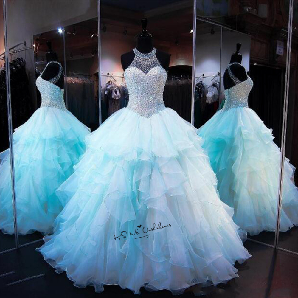 Vestidos de 15 Anos Quinceanera Dresses 2017 Debutante Gowns Baby Blue Beading Sweet 16 Ball Gowns Cheap Quinceanera Gowns