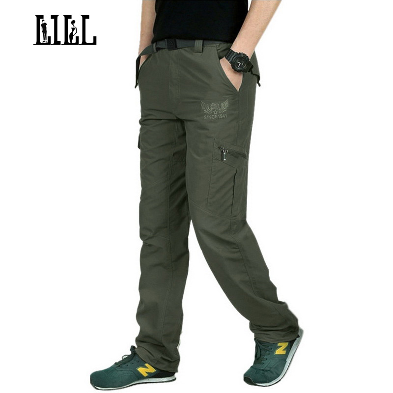 LILL Embroide Quick Dry Casual Pants Men Summer Army Military Style Trousers Mens Tactical Cargo Pants
