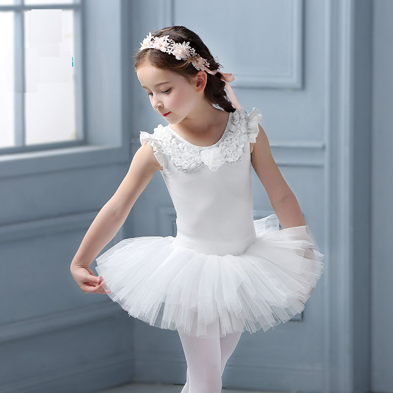 White Flora Ballerina Children Dance Costume Tutu Skirt Ballet Dress F Girls 2 9Y Kids Ballet ...