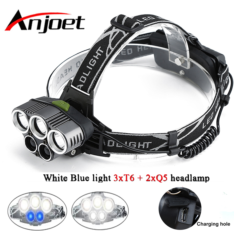 Anjoet Brightfire LED Headlamp 5 CREE XM-L T6 Q5 Headlight <font><b>15000</b></font> <font><b>lumens</b></font> LED Headlamp Camp Hike Emergency <font><b>Light</b></font> Fishing Outdoor image