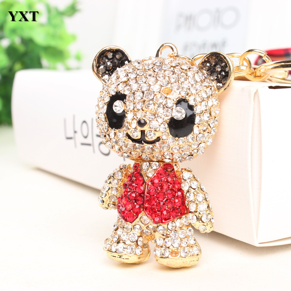 Panda Skirt Red Arm Head Move Pendant Charm Pendant Cute Rhinestone Crystal Purse Bag Car Key Ring Chain Jewelry Gift