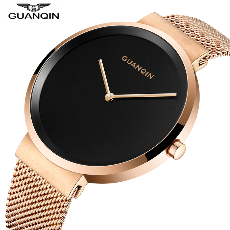 Original GuanQin New ultra-thin Simple Men Watch Top brand luxury Quartz Watch Men Sapphire Mirror Waterproof Relogio masculino цена и фото