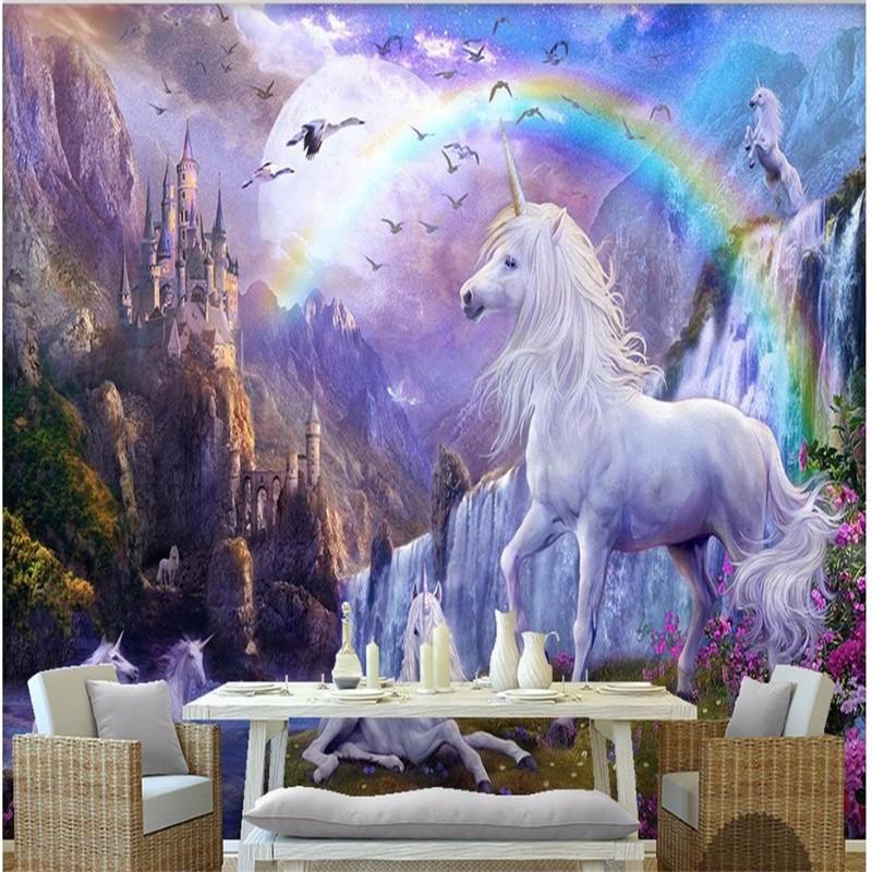 Custom-3d-photo-wallpaper-3d-wall-mural-wallpaper-Blue-sky-rainbow-waterfall-white-horse-animal-landscape (3)