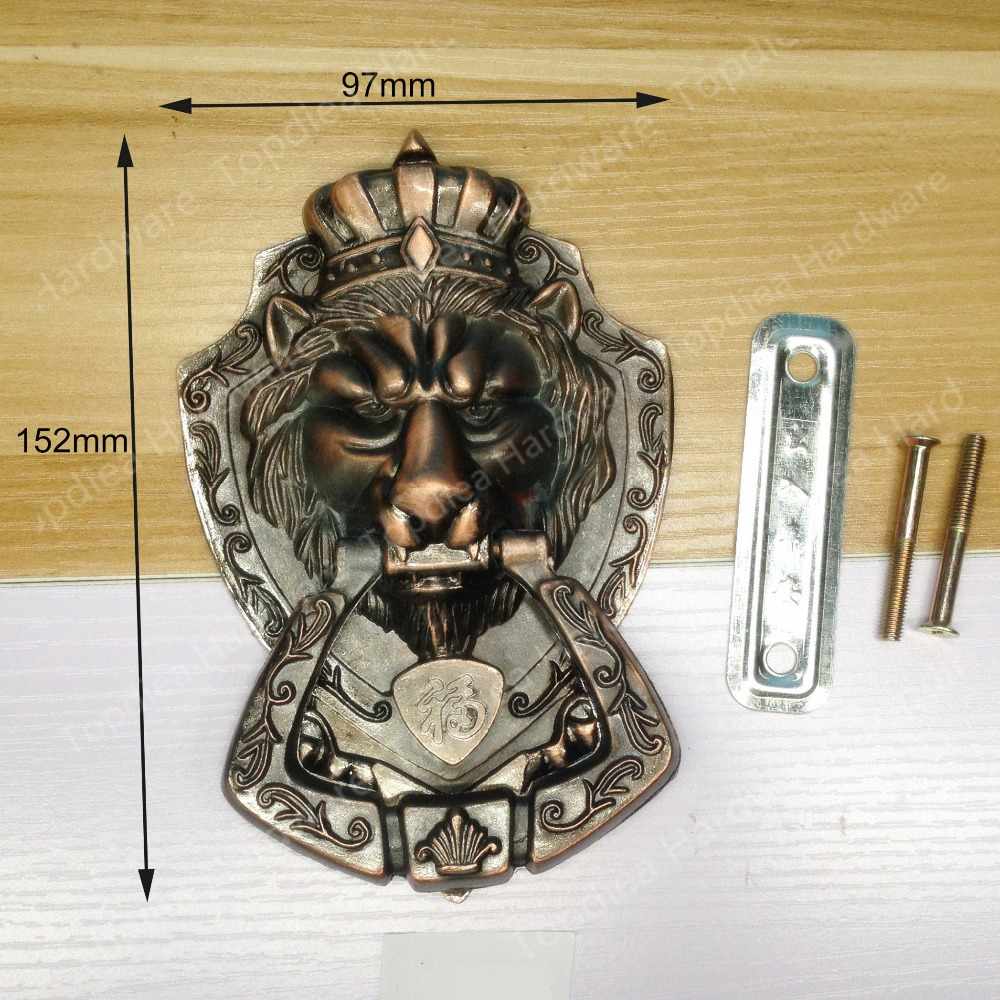 Red Copper Color Antique Chinese Yuan Fu lion head door handle knocker handle unicorn beast chinese antique copper fittings knocker copper handle big lion tiger beast head copper shop first hand ring gate