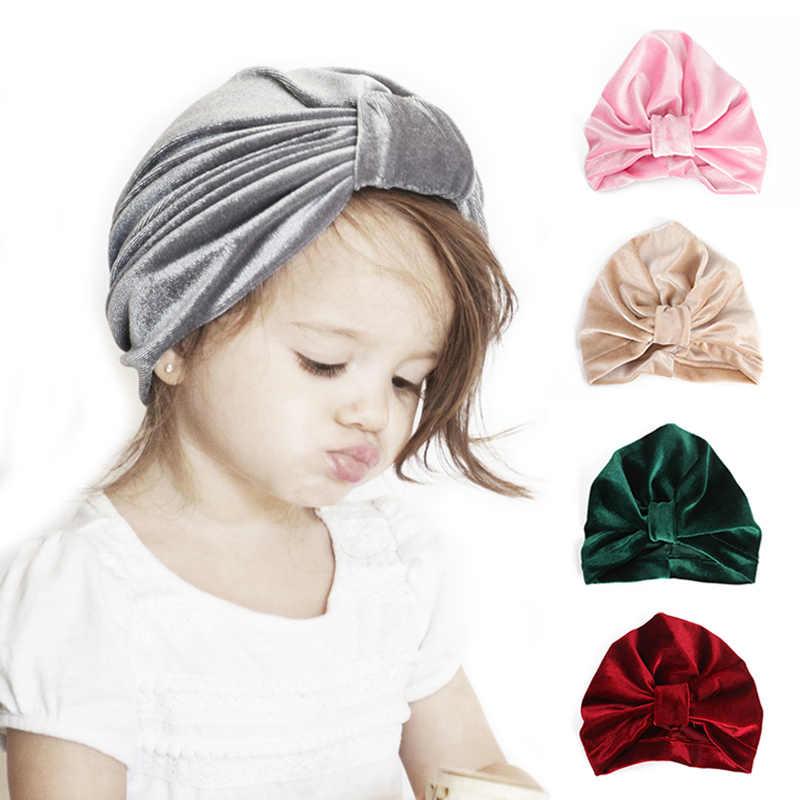 กำมะหยี่นุ่มเด็ก Beanie Big Bow เด็กฤดูหนาวหมวกเด็กอบอุ่น Bonnet Enfant Infant เด็กวัยหัดเดิน Newbnorn Boy Girl หมวกหมวก Muts