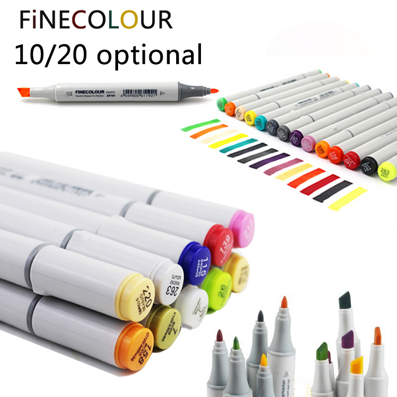 Finecolour 10/20 Optional Color Marker Double Headed Sketch Alcohol Based Marker Pen Common Set Paint Sketch Art Marker Writin touchnew 60 colors artist dual head sketch markers for manga marker school drawing marker pen design supplies 5type