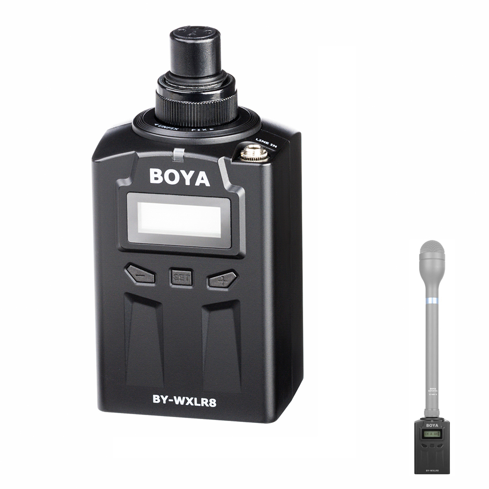 BOYA BY-WXLR8 Plug-on XLR Audio Transmitter with LCD Display for BY-WM8 BY-WM6 Wireless Lavalier Microphone System Handheld Mic boya by whm8 professional 48 uhf microphone dual channels wireless handheld mic system lcd display for karaoke party liveshow