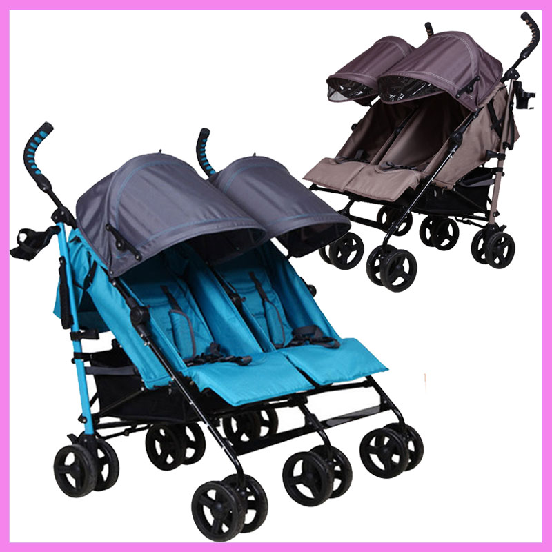 Double Baby Stroller for Twins Lightweight Portable Folding Baby Stroller 2 In 1 Multi-function Kinderwagen Double Stroller 0~3Y
