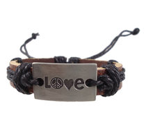 Nova moda handmade woven amor do encanto do coração da paz mundial cinto genuína cinto de couro wrap Braceletsjewelry do vintage dos homens das mulheres