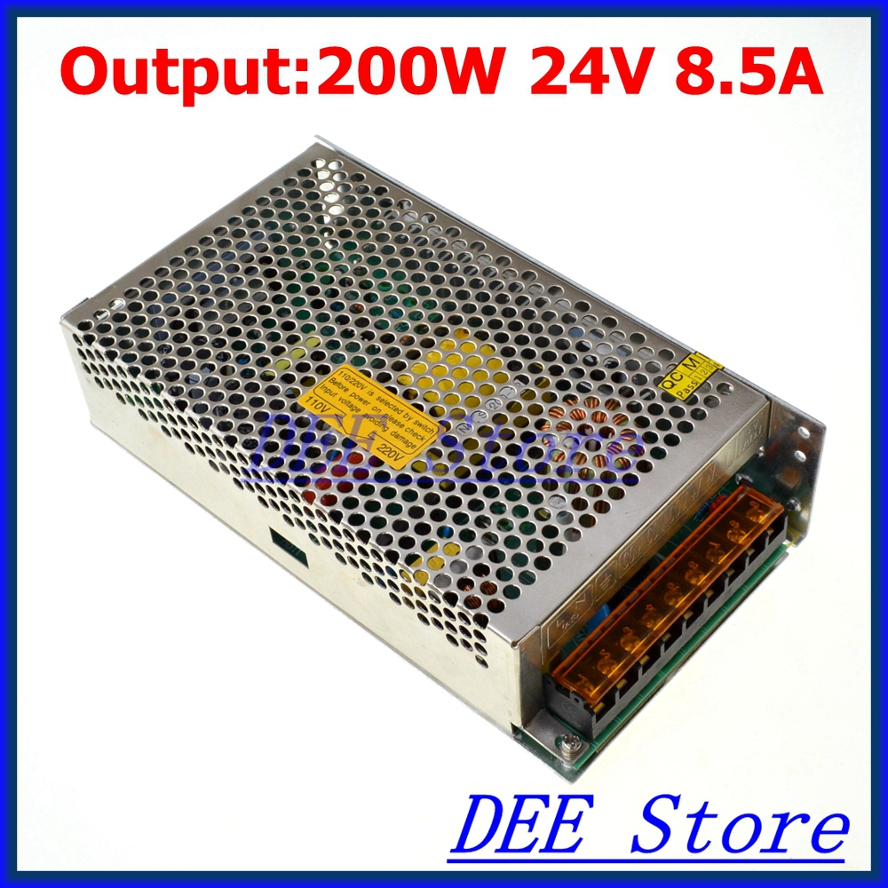 LED Driver 200W 24V 8.5A Single Output Adjustable Switching power supply unit for LED Strip light Universal AC-DC Converter