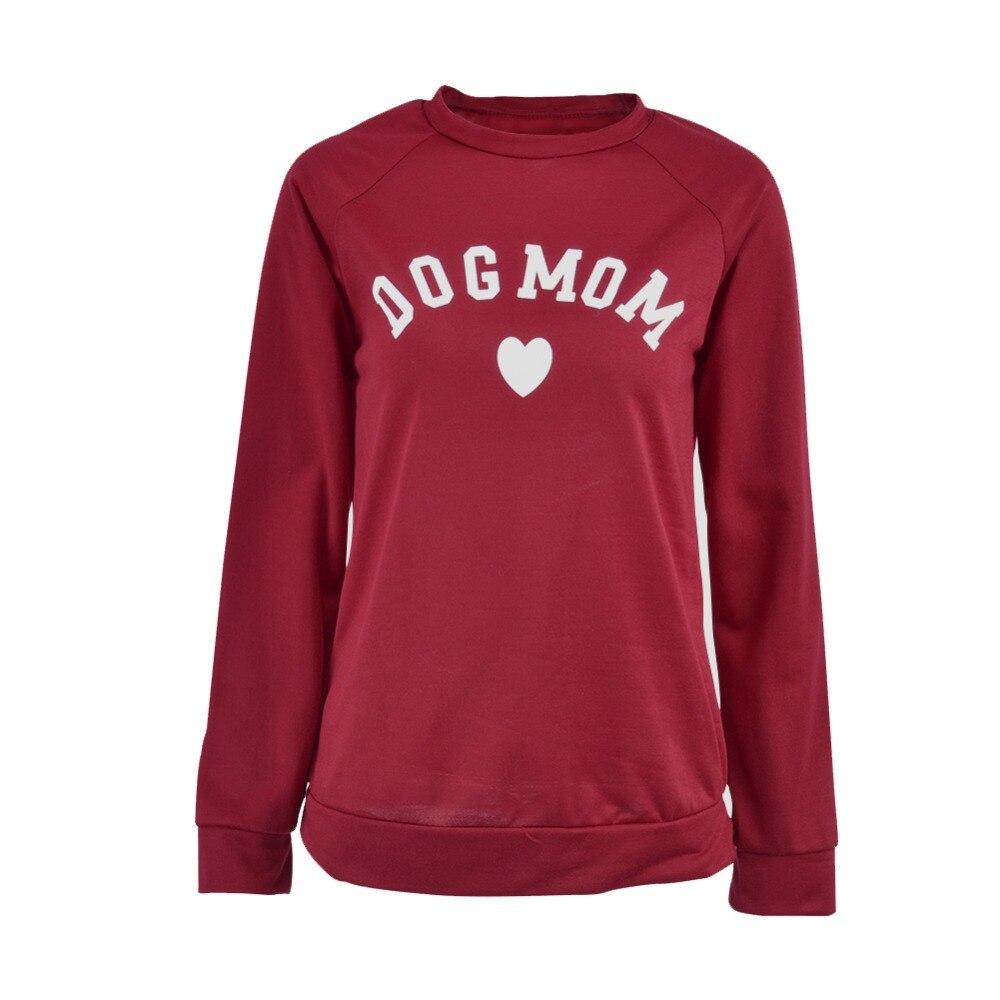 Mujeres Dog mamá Impresión de moda en forma de corazón imprimir Kawaii sudadera hembra patrón de impresión Cropped sudaderas