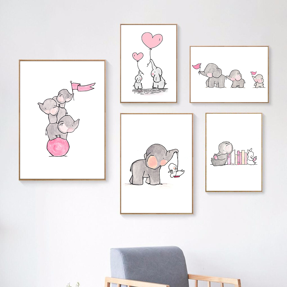 Watercolor Canvas Print Animal Art Canvas Painting Kids Poster Elephant Picture Nordic Poster Animals Art Nursery Decor Unframed in Painting Calligraphy from Home Garden