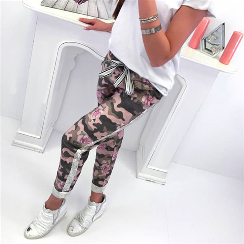 Fashion Womens Pants 2018 New Arrival Comfortable Sequins Camouflage Print Bandage Patchwork Mid Waist Long Pants Trousers F#J12 (14)