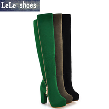 2016 New Arrival Women Winter Knee High Boots High Quality Leather Zip Warm With Fur Lady Sexy High Heels Shoes Mujer Big Size