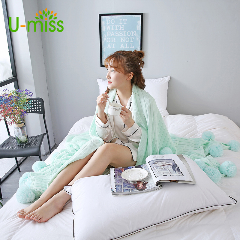 U-miss Soft Warm Plaid Coral Cotton On The Bed/Sofa/Plane/Travel High Quality Throw Sleeping Bed Cobertor Sirene Tail Blanket