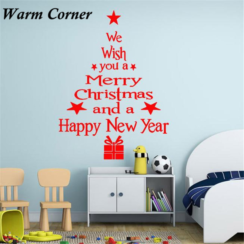 Online Shop 3 Colors Christmas Tree Letter Sticker Wall Art Decal Bedroom  Glass Decor Wall Sticker Free Shipping Aug 19 | Aliexpress Mobile Part 54