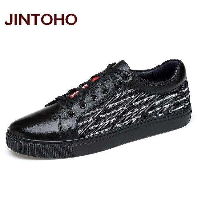 JINTOHO Breathable Men Genuine Leather Shoes Luxury Band Men Shoes Casual Male