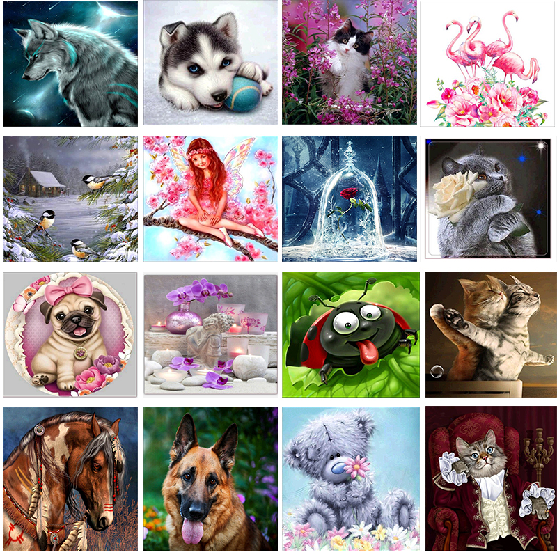 5d Diy Diamond Painting Cross Stitch Kit Diamond Embroidery Flower Animal Picture Wall Sticker Mosaic Painting Home Decor