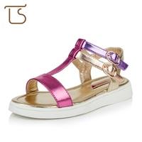Size 28 37 Summer Modern Children Little Lady Leather Flat Sandals T Bar Big Kids Girl