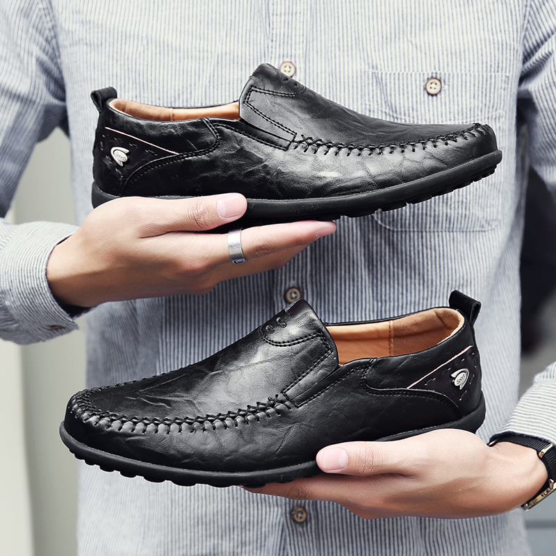 Summer Genuine Leather Men Casual Shoes Luxury Brand 2019 Mens Loafers Moccasins Breathable Slip On Black Formal Shoes JKPUDUN