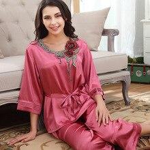 Womens Silk Satin Pajamas Set Pajama Pyjamas Set Sleepwear Rose Embroidery Loungewear All Seasons Sexy Rayon Sleep Clothes цены