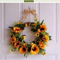 Wedding Sunflower Wreath Party Decoration Romantic Artificial Flower Handmade Hanging Wedding Door Decor Party Flower Supplies