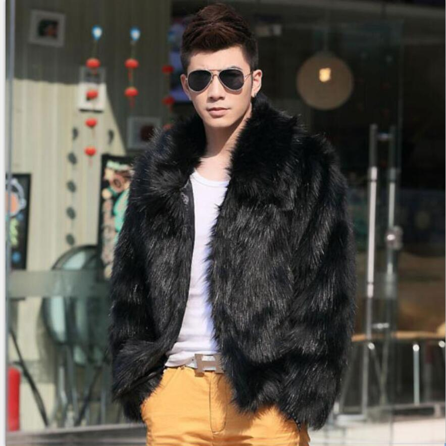 f30d736ca 2018 solid new winter black white fashion short faux fur coat Fox fur  Turn-down Collar full fur coats men warm leather jacket