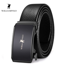 Williampolo Genuine Leather Belts For Men High Quality Male Brand Automatic Ratchet Buckle Belt 1.25 35MM Wide PL18469-70P