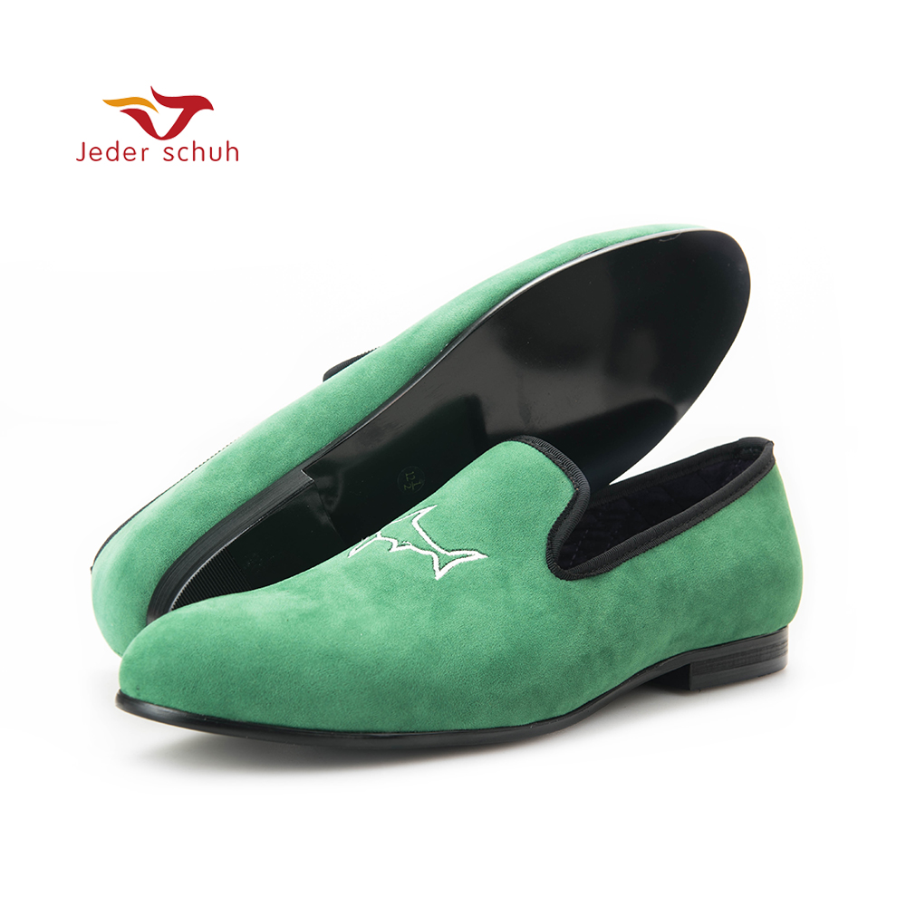 men loafers Handcrafted men grass green velvet shoes with simplified shark embroidery Party and Prom fashion rabbit and grass pattern 10cm width wacky tie for men