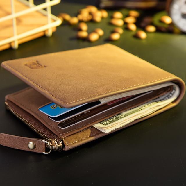 Vitage Zipper Men Wallets Leather Wallet Money Bag Credit Card Holders Dollar Bill Wallet Clutch Purse for Boy Use Short Wallets 1