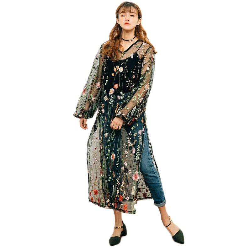 Vintage Floral Embroidery Sheer Mesh Dress Women Summer See Through Dresses Long Sleeve Side