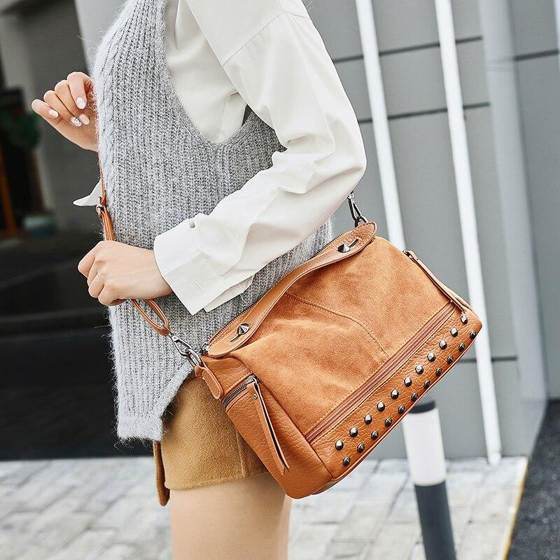 Delle brown Bag Borse Pelle Modo Pomelos Di Alta Le Qualità Per In E Shoulder A Bag Black Tracolla Ribattino Donne Crossbody Borsa Sacchetto Elaborazione Dell'unità Del xASga