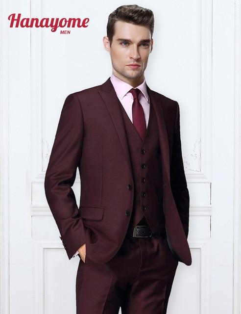 Dark Purple Korean Men Fl Suits S 3 Pieces Separate Groom Outwear Wedding Jacket