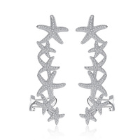 New Luxury Starfish Stud Earrings AAA Cubic Zirconia Unique Stars Ear Jacket for Women Girl Party Fashion Jewelry Gift