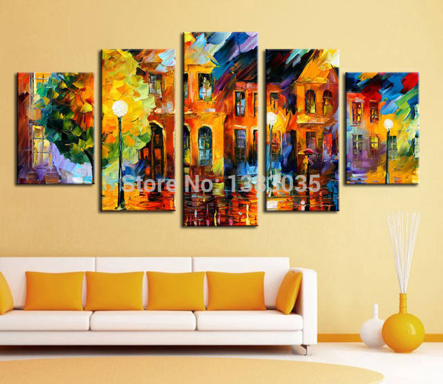 Online Shop Hand Painted Night Street Landscape Oil Painting Modern ...
