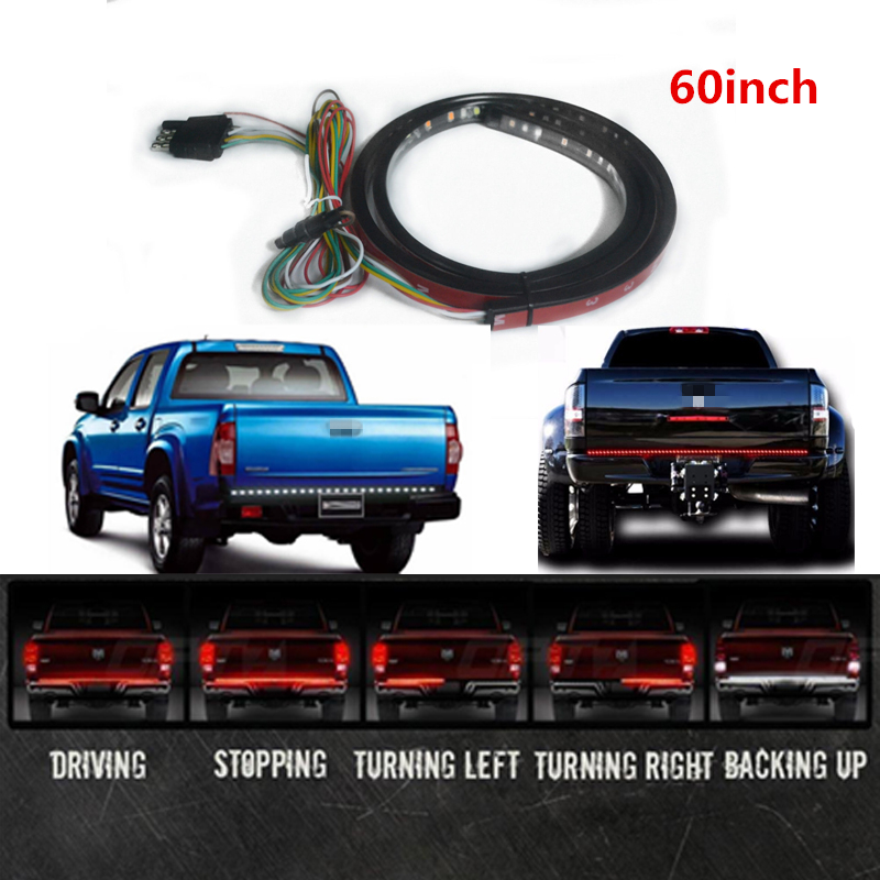 60 Red/white Tailgate LED Strip Light Bar Turn Signal Tail Truck Reverse Brake For Dodge Ram 1500 2500 3500 4500 550 2003-2012 car tail gate signal turn brake led strip light 49 inch 72smd door light strip 12m for pick up truck ip65 waterproof 2 5w lights