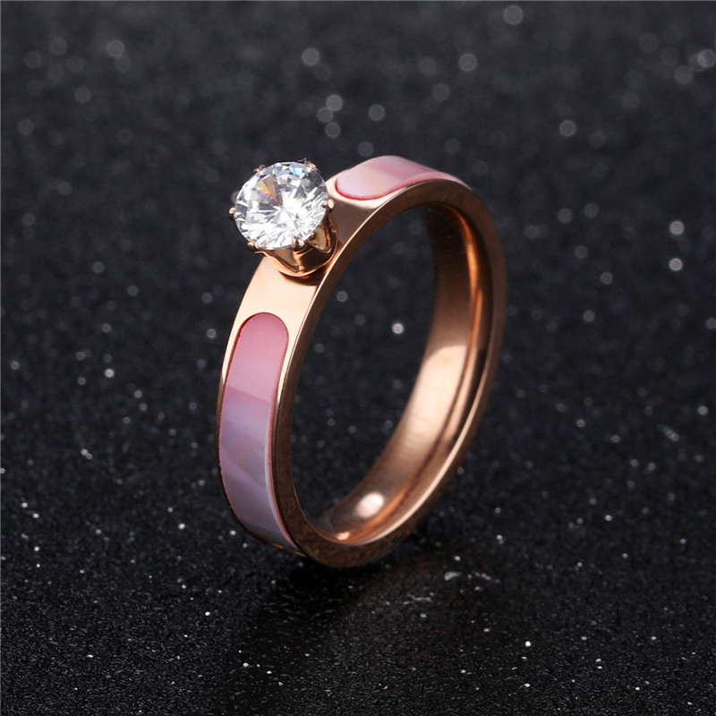 Stainless Steel Rings for Women with Zircon Simple Ring Band Rose Gold Ring with Rhinestones Aneis Fashion Engagement Jewelry